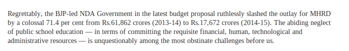 ruthlessly slashed the outlay for MHRD by a colossal 71.4 per cent .. Lets check that claim.